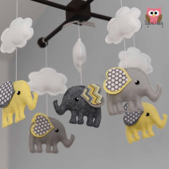Elephant Mobile  Custom Mobile ships in 4-6 by TayloredWhimsy