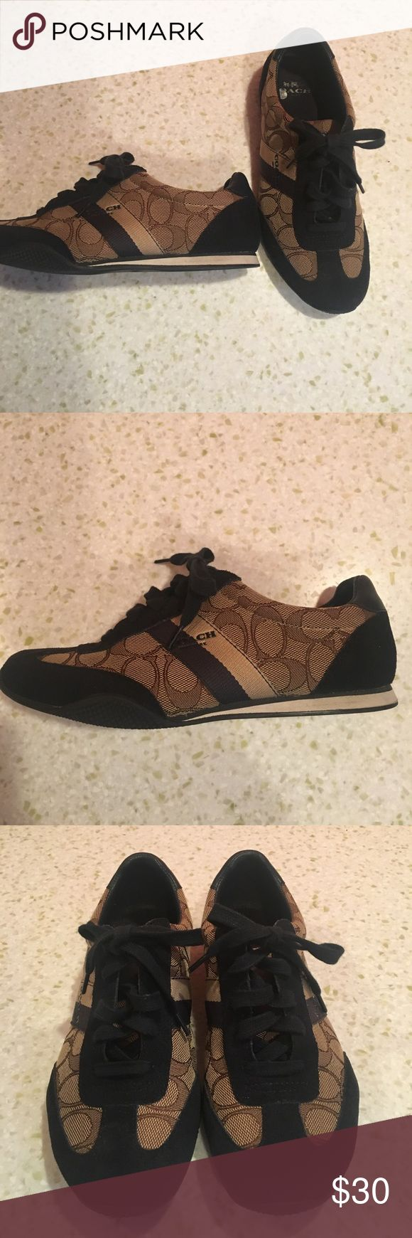 Authentic Coach tennis shoes. Non smoking home. Authentic Coach Tennis Shoes. Great condition. Super cute. Suede black trim. Leather heel back. Perfect for fall. Non smoking home. Coach Shoes Sneakers