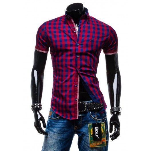 Elegantné pánske košele s krátkym rukávom červenej farby s kockovaným vzorom - fashionday.eu