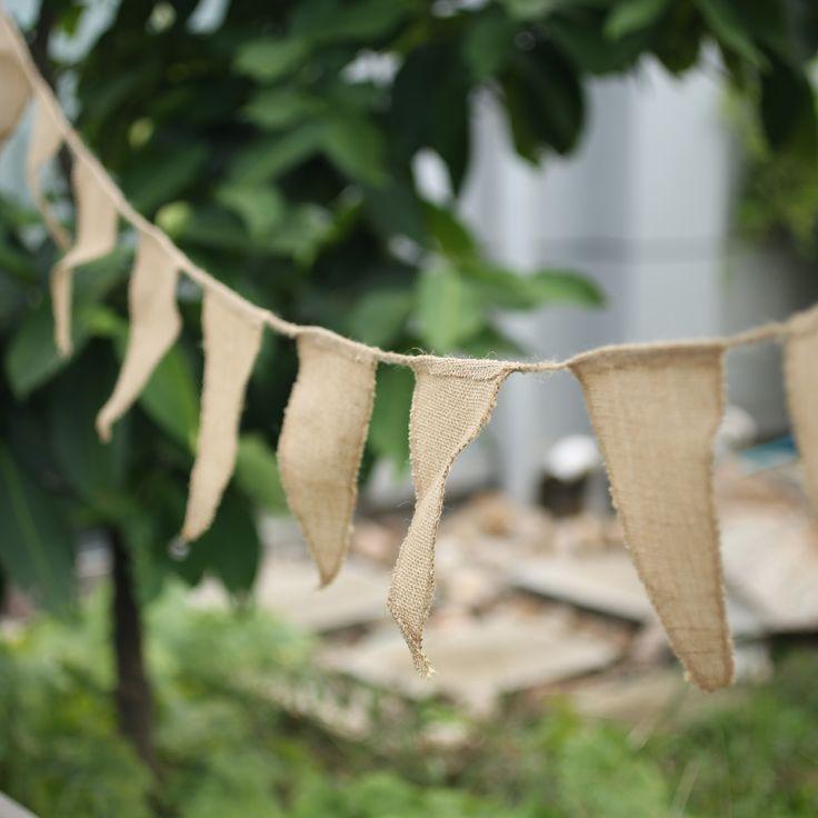 Vintage Shabby Chic Hessian Burlap Banner Rustic Wedding Bunting Decors Buntings Weddings .