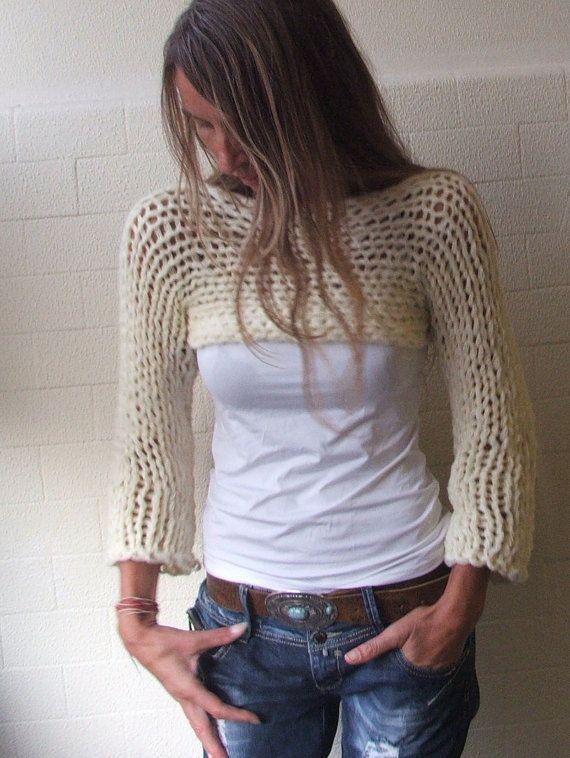 cropped sweater / Ivory Isle Chunky bamboo mix shrug / by ileaiye, $69.00