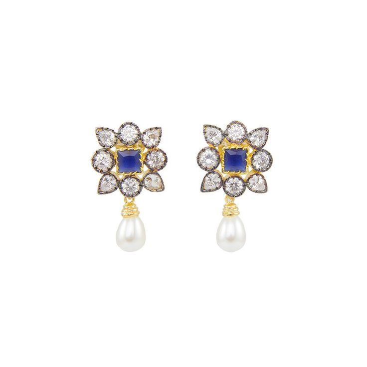 Square Floral Earrings with central navy stone  and a Victorian-inspired finish.