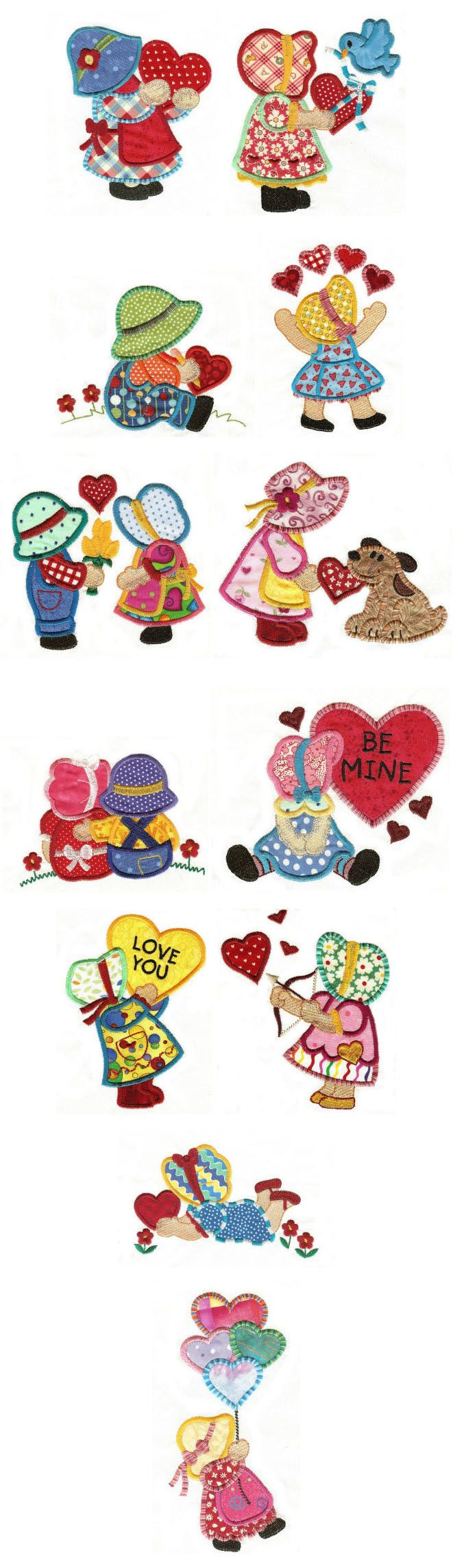 Embroidery | Free Machine Embroidery Designs| Sunbonnets in Love Applique