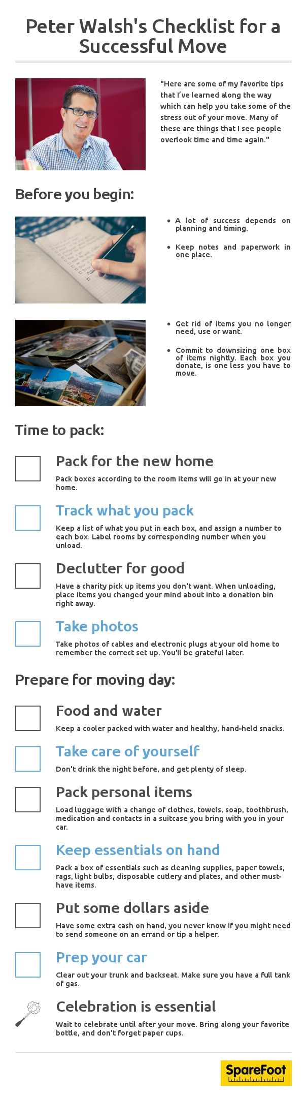 Some helpful tips from @ThePeterWalsh to help take some of the stress out of your move