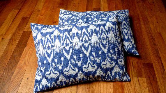 Blue Pillow Shams // Blue Ikat Pillows // Blue by LiveLoveSmile