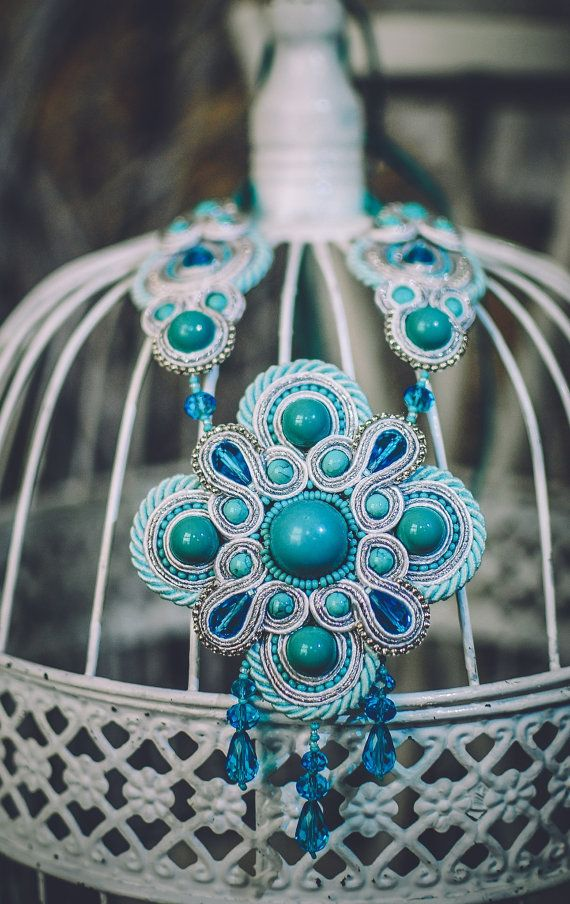 Soutache necklace, Turquoise and silver necklace, Beaded necklace, Big necklace, Embroidered necklace, Crystal necklace, FREE…
