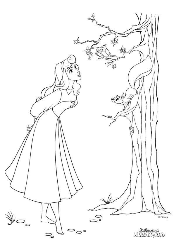 Prinsessa Ruusunen -värityskuva. Sleeping Beauty colouring.   Lasten Oman Kirjakerhon tulostettavat värityskuvat. Free printable pattern. lasten | askartelu | käsityöt | värittäminen | DIY ideas | kid crafts | colouring