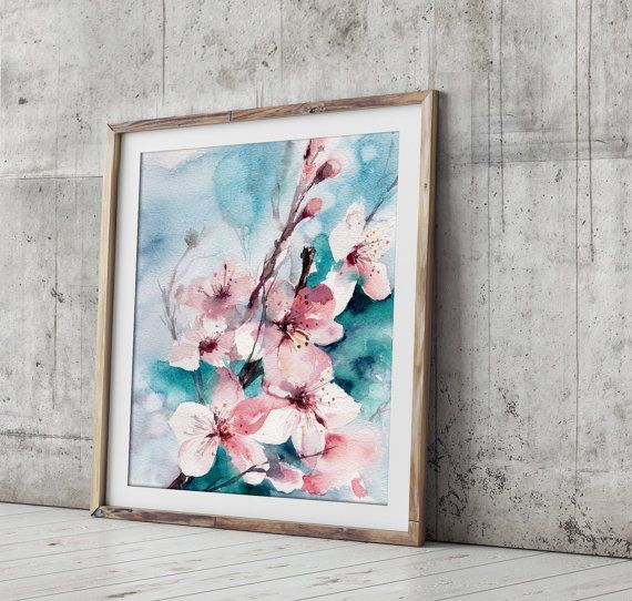 Almond Blossoms Art Print Fine Art Print from Watercolor Painting Watercolour Wall Art Turquoise Pink Floral Art  PRINT DETAILS: printed on Epson art printer specialised in museum quality printing, on heavy weight archival (acid free, special coated, non-yellowing) paper. Each art print is a reproduction of my original one of a kind artwork.  SIZES: please choose from the drop menu. There are standard inches sizes and A-sizes also. Custom sizes are available too, please contact me for…
