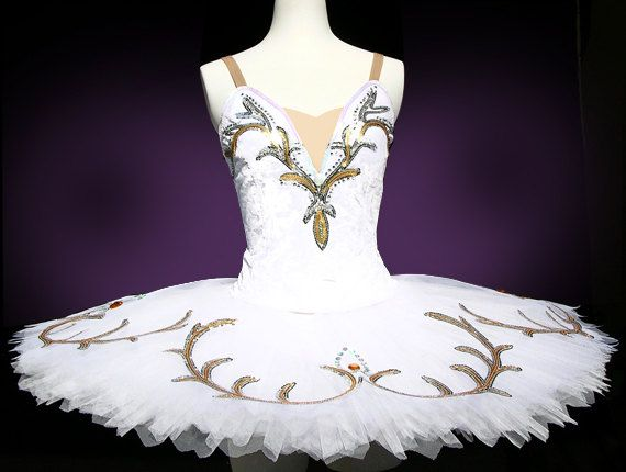 """Ballet Tutu - Childrens ballet tutu with a pair of arm ruffles. Dreamy White Ballet Tutu can be used for """"Sleeping Beauty"""". The bodice is made"""