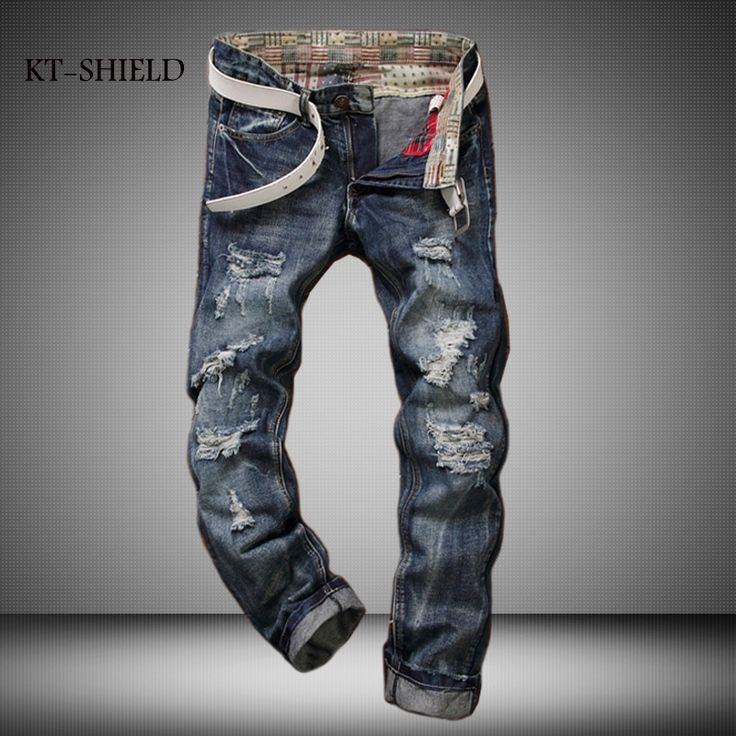 27.32$  Watch here - http://aiv7s.worlditems.win/all/product.php?id=32792926989 - Famous brand men jeans fashion Vintage Man Slim fit Pants long trousers Blue denim jeans Ripped pantalones biker vaqueros hombre