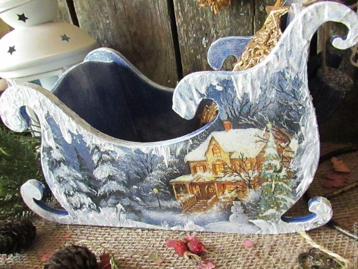 """Купить Сани интерьерные """" Снежные"""". - темно-синий, фиолетовый, Снег, белый, голубой, блеск"""