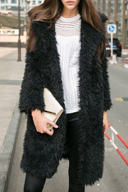Turn-Down Collar Black Fuzzy Coat