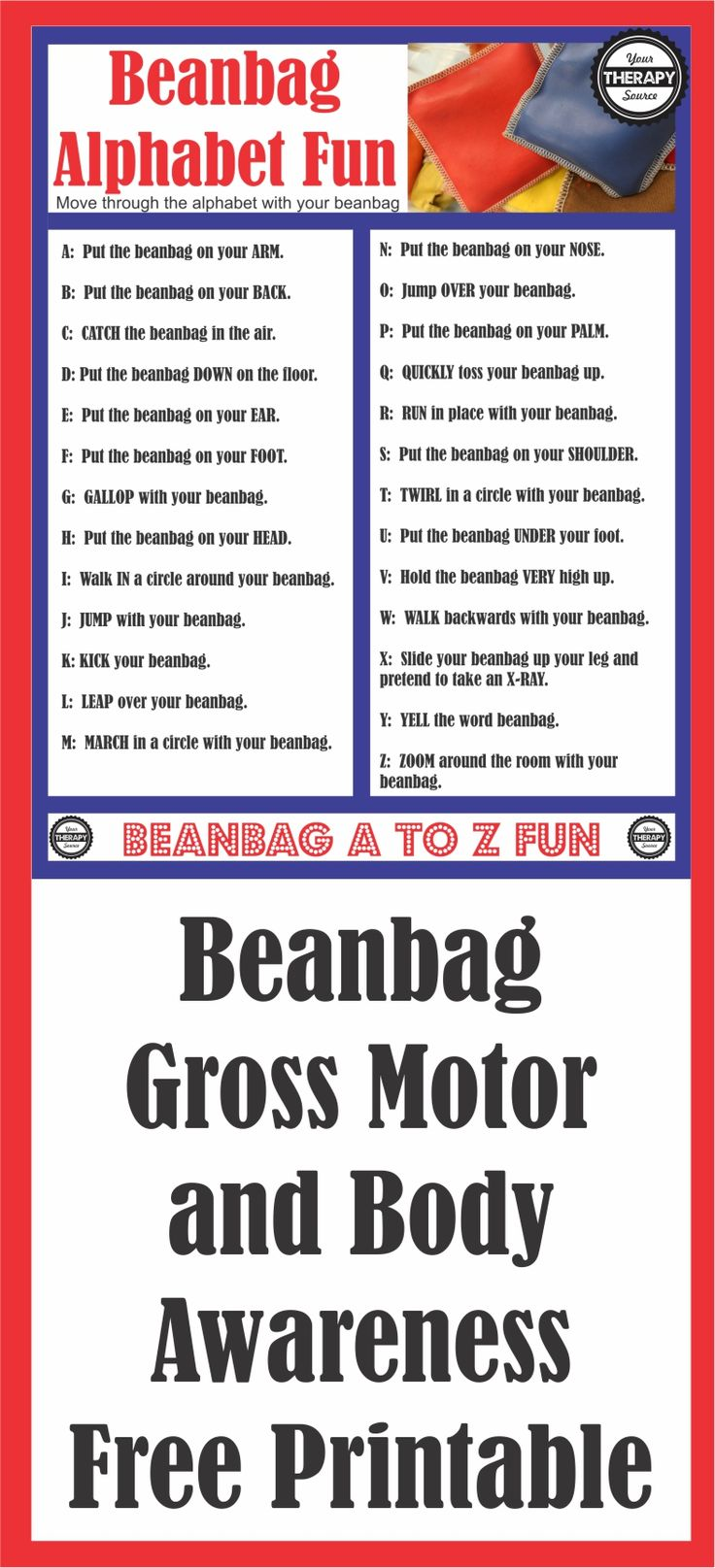 Beanbag Alphabet Fun Gross Motor and Body Awareness - move through the alphabet with your bean bag for whole body learning #grossmotorskills #preschool