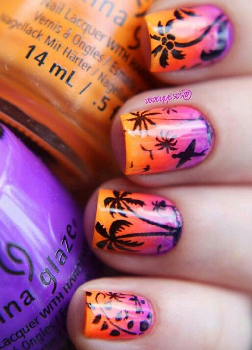 Tropical sunset nail art, palm trees