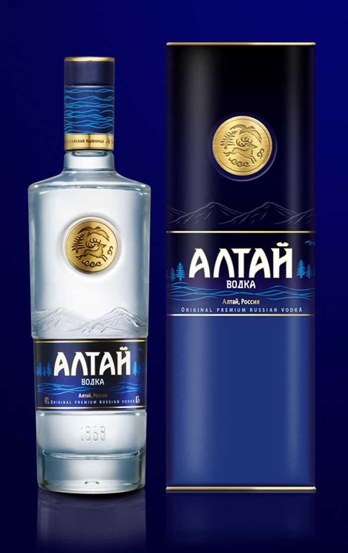 I'd drink this Vodka (if I drank). I love the blues and icy bottle. Plus the Russian fonts are really great. Check out the neat gold seal art.