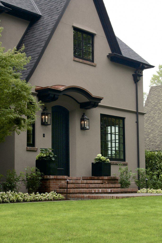 Best Tudor Stucco Home With Taupe Paint And Black Roof And Trim 400 x 300