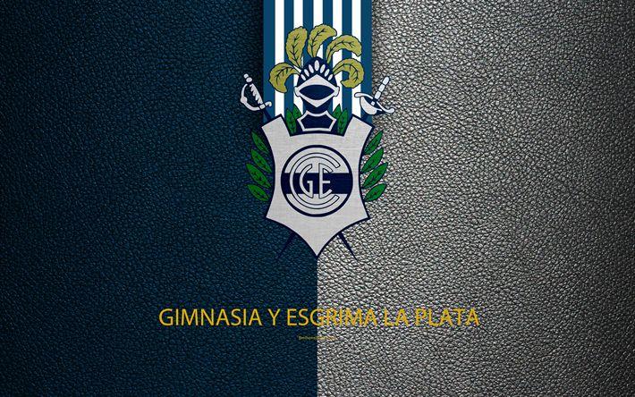 Download wallpapers Gimnasia y Esgrima, 4k, logo, La Plata, Argentina, leather texture, football, Argentinian football club, FC, emblem, Superliga, Argentina Football Championships, First Division