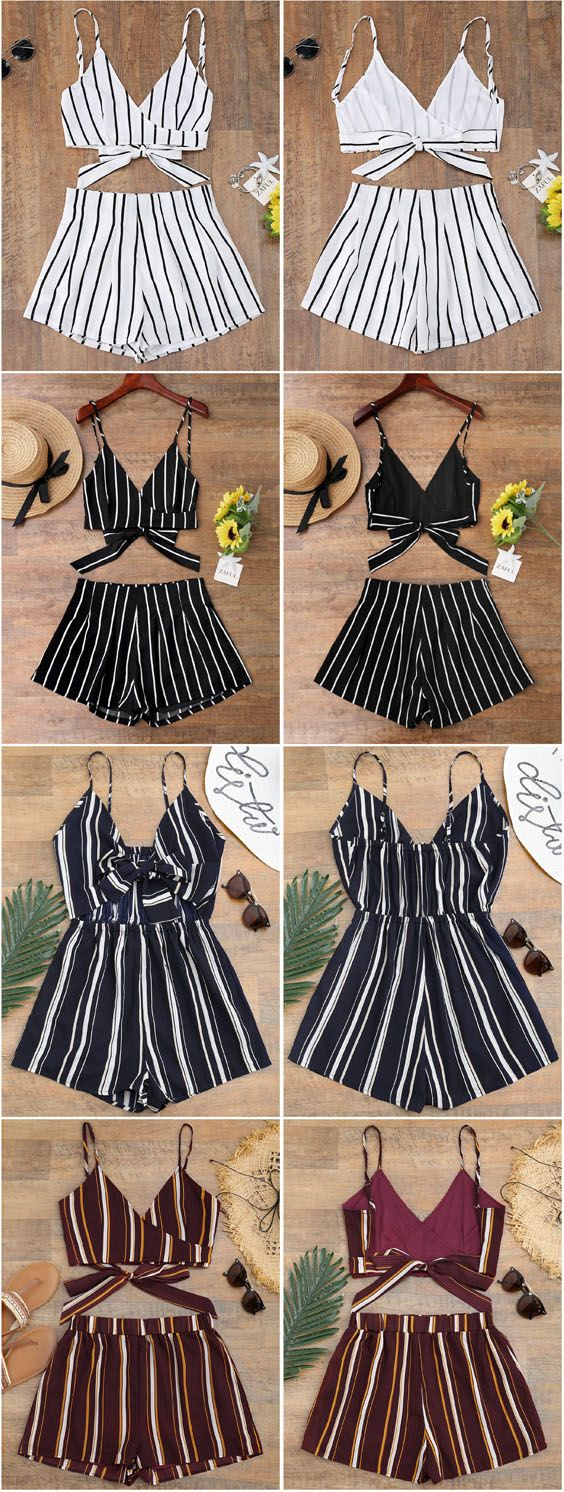 Up to 80% OFF! Striped Cropped Wrap Top With Shorts. #Zaful #CoverUps zaful,zaful outfits,zaful dresses,spring outfits,summer dresses,Valentine's Day,valentines day ideas,cute,casual,classy,lace,mesh,fashion,style,swimwear,swimsuits,beach cover ups,swimsuit cover,jumpsuits,rompers,playsuits,dressy jumpsuits,playsuits two piece,two piece outfits,two piece dresses,dresses,printed dresses,sundresses,long sleeve dresses,mini dresses,maxi dresses,bohemian dresses @zaful Extra 10% OFF Code:ZF2017