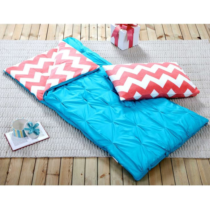 VCNY Sleeping Bag and Pillow Cover, Blue Coral Chevron Indoor Outdoor Camping Youth Kids Girls     VCNY Sleeping Bag and Pillow Cover, Blue Coral Chevron Indoor Outdoor Camping Youth Kids Girls Get comfy and cozy at your next sleepover or camping trip with this Sleeping Bag and Pillow Cover set from VCNY. Lined with super soft fleece, the sleeping bag will hold in warmth all night. The sleeping bag and pillow case feature a vibrant coral and white chevron fleece patter...