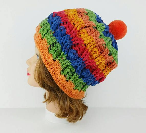 PomPom Beanie - PomPom Hat - Women's Slouchy Hat With PomPom - Ski Hat - Colorful Crochet Hat - Women's PomPom Hat in Tutti Frutti