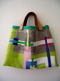 Modern sashiko bag. colours, pattern and stitching