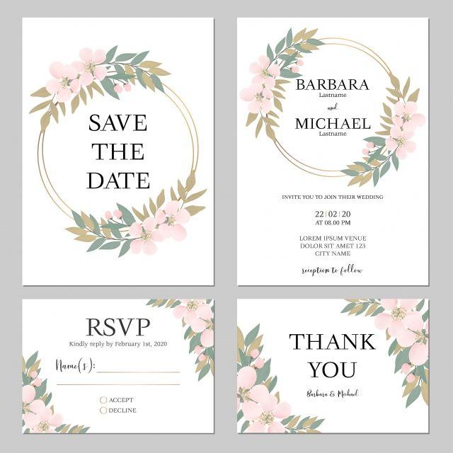 Set Ceri Bunga Bunga Perkahwinan Kad Jemputan Template Floral Wedding Invitation Card Floral Wedding Invitations Wedding Invitation Card Template