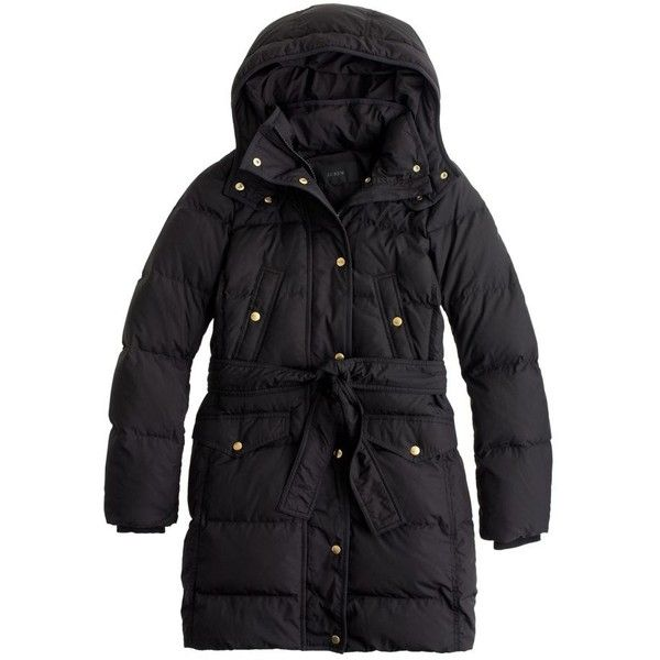 J.Crew Wintress Belted Puffer Coat (3,085 HKD) ❤ liked on Polyvore featuring outerwear, coats, belted puffer coats, fitted coat, evening coat, long puffer coat and long coat