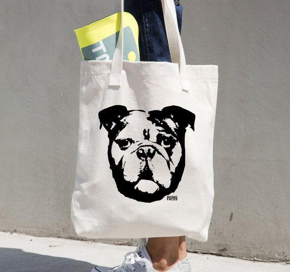 Bulldog Inglés bolsa, regalos Bulldog Inglés, Bulldog lienzo bolso de totalizador, bolso de compras, Dog Sitter, perro regalo conmemorativo, novia regalo