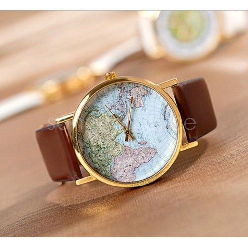 Horloge wereldkaart diverse kleuren - WebStash - Accessoires en modemusthaves webshop