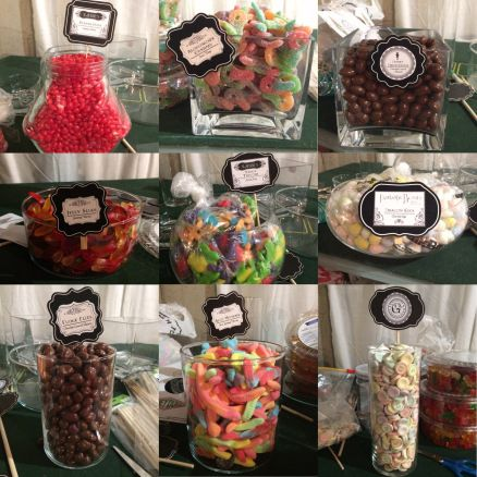 Some close up shots of our candy jars getting ready to be displayed for Our Honeydukes Candy Bar - Harry Potter Wedding DIY Candy Bar Party Favours