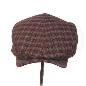 CABBIE~ rust & khaki vintage worsted wool plaid - Rosehip Hat Studio