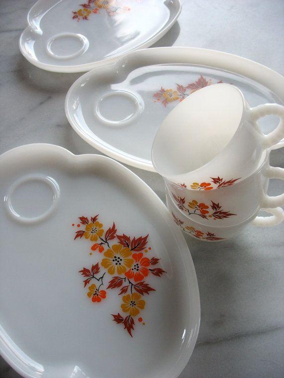 26 best Vintage Snack Sets images on Pinterest | Antique glass ...