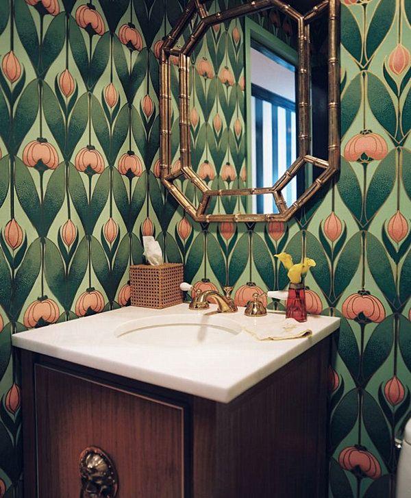 Make A Splash With Tropical Home Decorating Ideas : Tropical Art Nouveau Bathroom