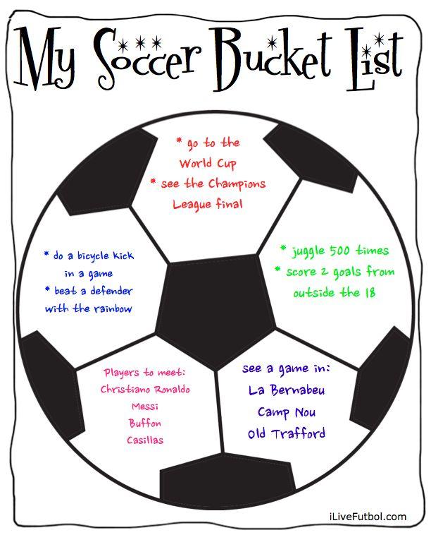 Soccer Bucket List-Create your own Soccer Bucket List Free Printable Soccer Bucket List and Prompts activity www.ilivefutbol.com