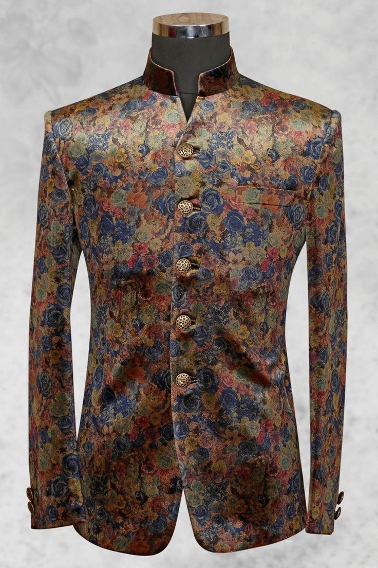 #Multicolor rich #velvet suit with bandhgala collar-ST498