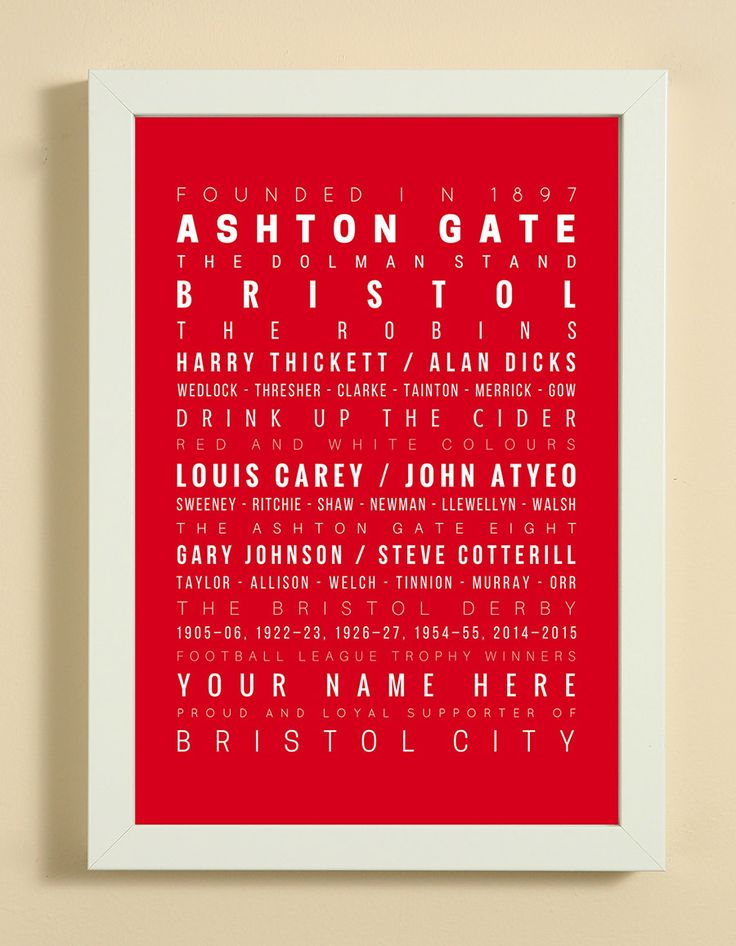 Bristol City Football Club Word Art Design Print - Words, Names And Facts Associated With Bristol City FC - In White Or Black A4 Box Frame