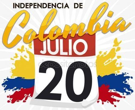 Cartel promocional con fecha de recordatorio del día de la independencia colombiana, ilustración vectorial Gráficos Vectoriales