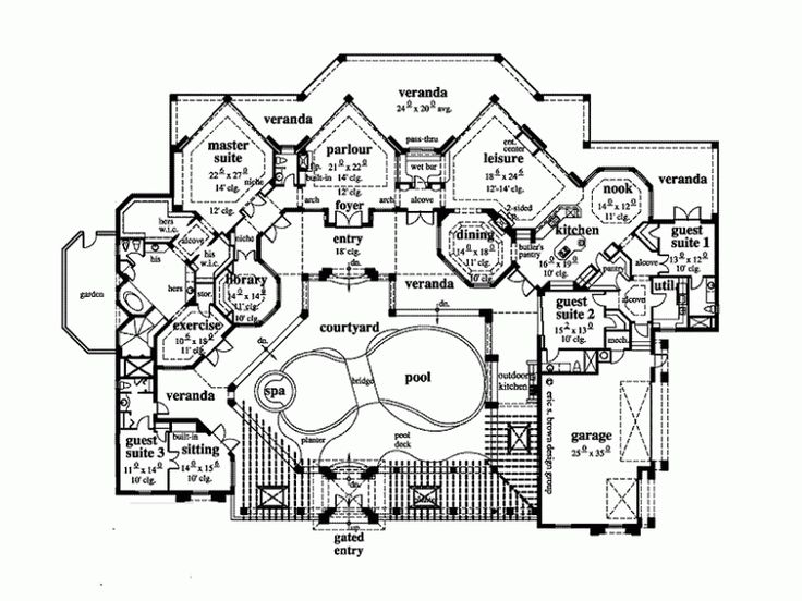 Rear Courtyard House Plans Eplans Italianate House Plan