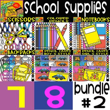 This is a great cliparts bundle which contains 8 sets related to different colorful school supplies. You can save money purchasing this bundle! List of School Supplies: BUNDLE 2: SET 1 - SCISSORS SET 2 - COLORED PENCILS SET 3 - NOTEBOOKS SET 4 - BACKPACKS SET 5 - PENCIL CASES (BOY´S STYLE) SET 6 - PENCIL CASES (GIRL´S STYLE) SET 7 - BOOKS OPENED - (UNDER