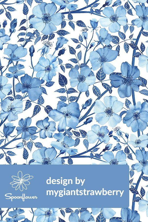 Watercolor Rose Garden In Blue By Mygiantstrawberry