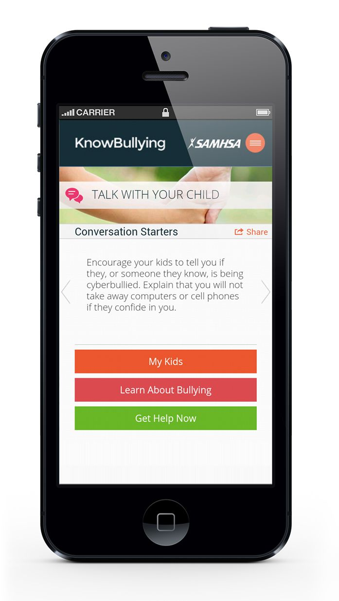 Download this free app from SAMHSA...a great tool for parents and educators to help us to support and connect with our kids! Provides resources and tips regarding bullying.