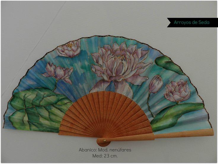 Abanico pintado a mano con acuarela.  Algodón de primera calidad y abedul pulido.  www.arroyosdeseda.com