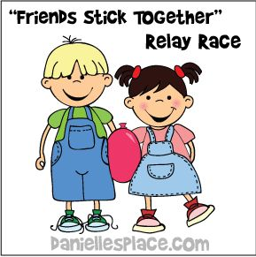 """""""Friends Stick Together"""" Relay Race for Ruth and Naomi Bible Lesson from www.daniellesplace.com"""