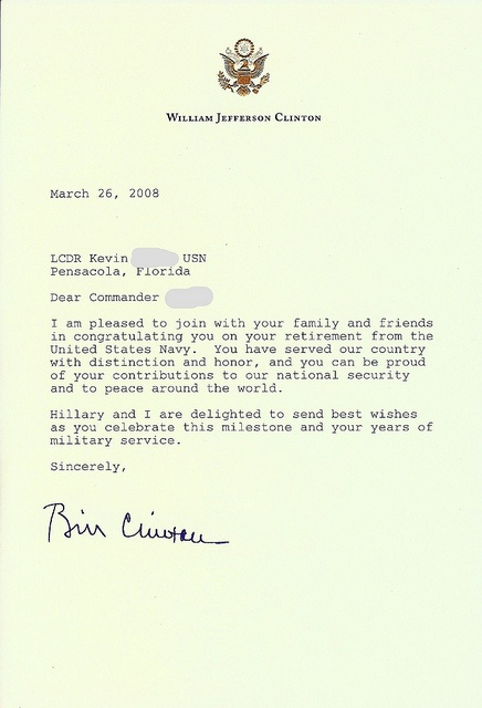 personal letter from ex president bill clinton upon my
