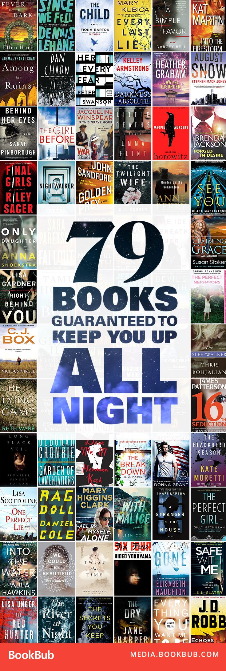 79 books to read that are guaranteed to keep you up all night. Including a list of thriller books, mystery books, psychological thrillers, and romantic suspense books. | Page-turners | Books you can't put down