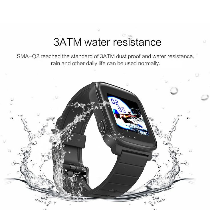 SMA Q2 Smart Watch Memory LCD Display 3ATM Water Resistance Heart Rate Detection Connected GPS Tracking Call Text & Calender Alerts 200mAh Battery Sales Online black - Tomtop