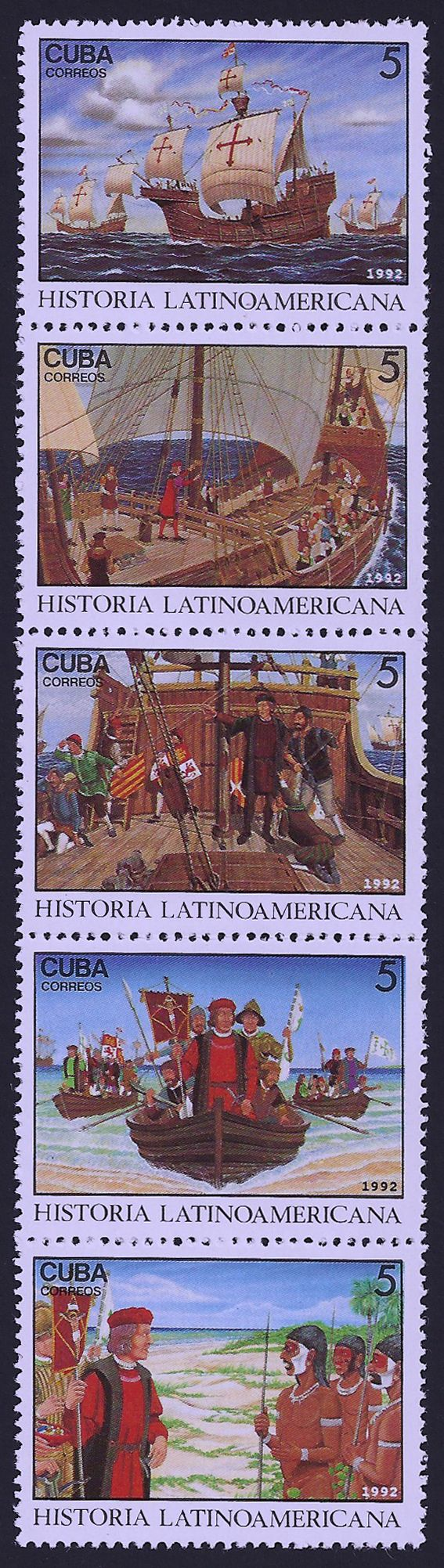 Cuba Scott #3464 a-e (3 Oct 1992) Strip of 5, a. Three ships stopping at Canary Islands, b. Columbus speaking to crew, c. Land sighted, Oct. 12, 1492, d. Columbus landing in New World, e. Meeting natives.