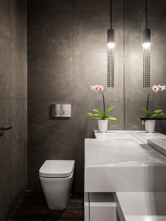 Bathroom Design, White Contemporary Powder Room Sinks Also Modern Automatic Faucet Design Also White Modern Water Closet Also Unique Pendant Lamp Also White Small Vase With Adorable Flower Also Modern Mirror Without Frame: Powder Room Decorating Ideas for Your Bathroom