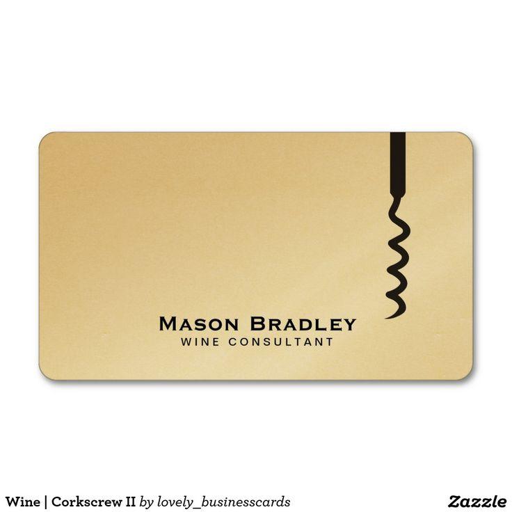 Wine | Corkscrew II Standard Business Card #corkscrew #businesscards #wineconsultant #winery #wines