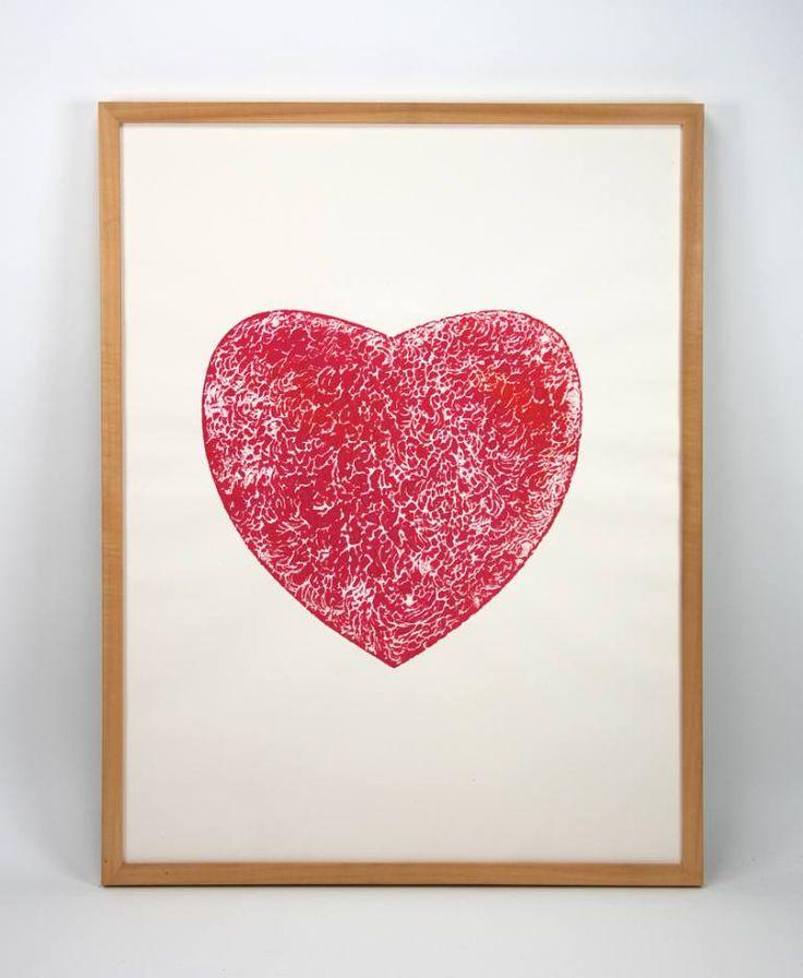 "Saatchi Art Artist Dennis Happé; Printmaking, ""Red heart"" #art"